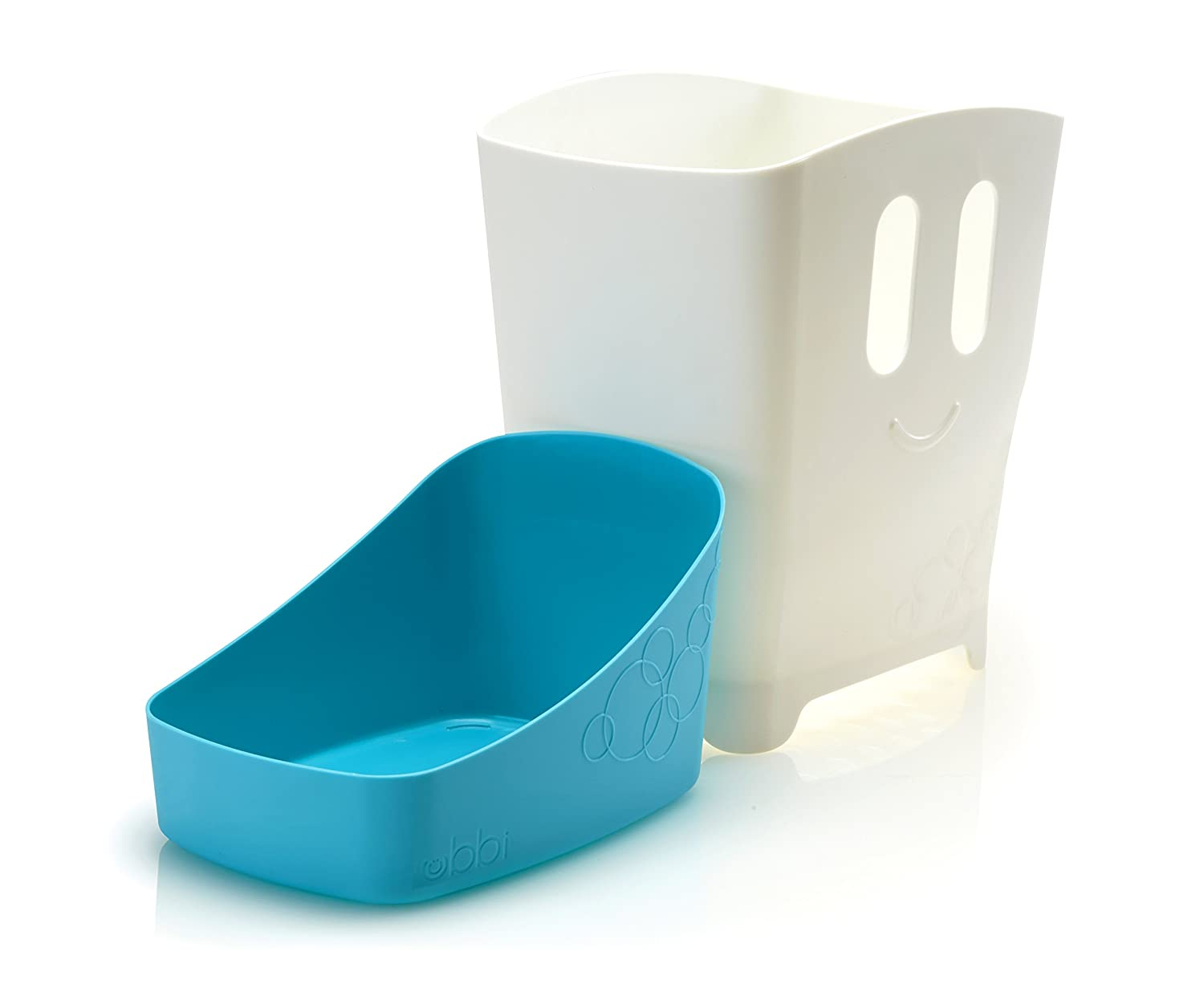 Blue Baby Ubbi Freestanding Bath Toy Organizer Bath Caddy with Removable Drying Rack Bin and Scoop for Bath Toys for Toddlers