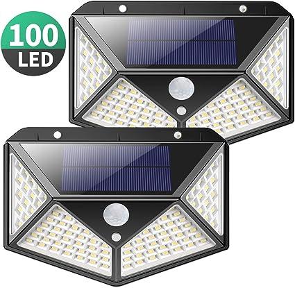 ADLOASHLOU 40LED Luz Solar Exterior 120 /°Iluminaci/ón Foco Solar con Sensor de Movimiento Impermeable L/ámpara Solar L/ámpara Solar de Seguridad Inal/ámbricas para Jard/ín Camino 2pieces