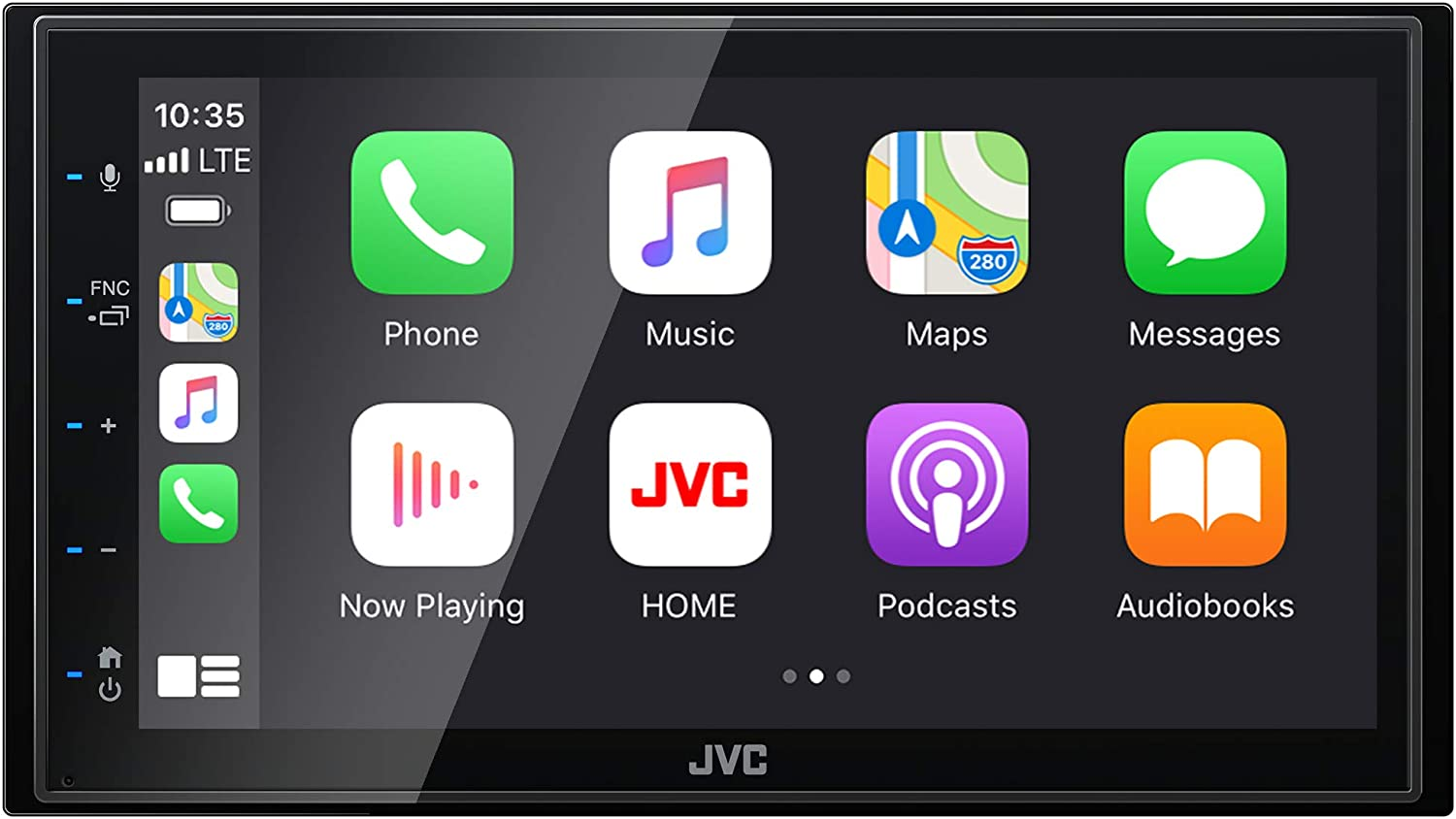"JVC KW-M56BT Bluetooth Car Stereo Receiver with USB Port– 6.8"" Touchscreen Display - AM/FM Radio - MP3 Player - Double DIN – 13-Band EQ – SiriusXM Ready, with Apple CarPlay and Android Auto – (Black)"