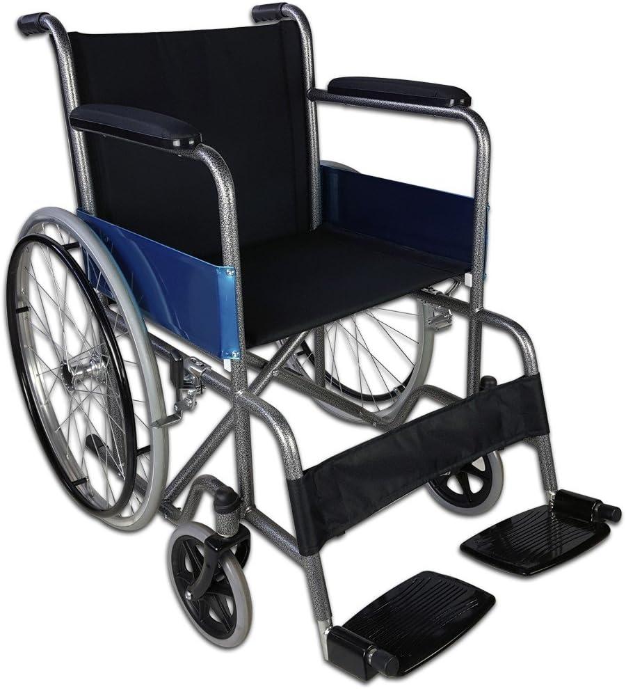 Mobiclinic, modelo Alcázar, Silla de ruedas plegable, ortopédica, para minusválidos, de aluminio, manual, freno en manetas, reposapiés y reposabrazos extraíbles, color Negro, asiento, ultraligera