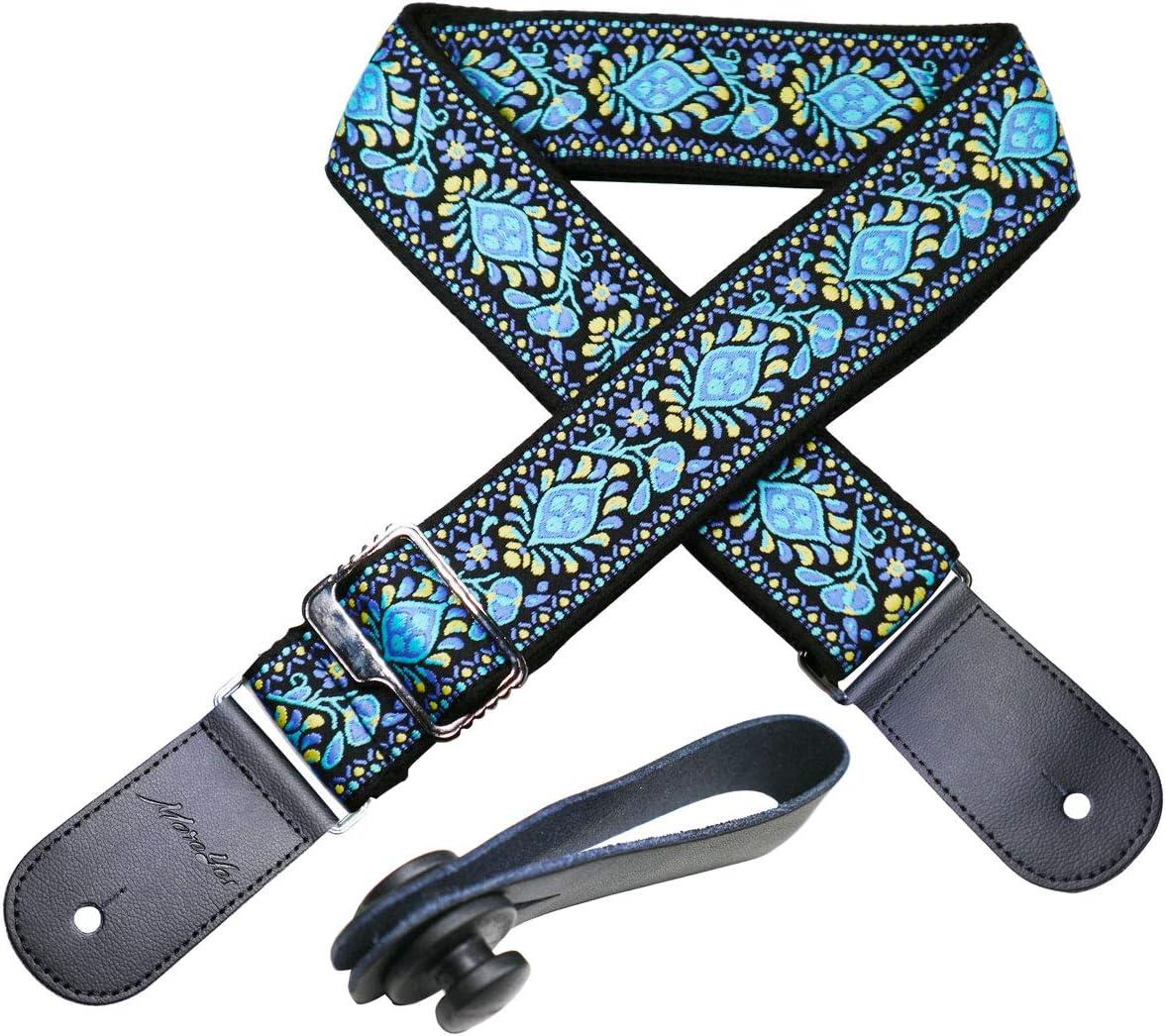 MOREYES Correa de guitarra Correas de piel auténtica Jacquard Weave Correa para bajos, guitarras eléctricas y acústicas (azul)