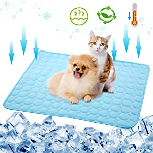 Cooling Mat for Cats Dog Cooling Mat Pad Self Cooling Pad for Cats, Pet Cooling Blanket Summer Ice Silk Mat Pet Cooling Seat Cushion for Outdoor/Home/Pet Bed/Kennel/Crate/Sofa/Couch/Car Seat