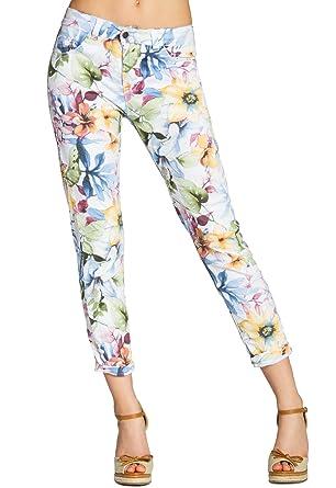 CASPAR Damen 7 8 Sommer Hose mit Blumen Muster Lilien Flower Print -  KHS021  Amazon.de  Bekleidung 7c6ed11b79