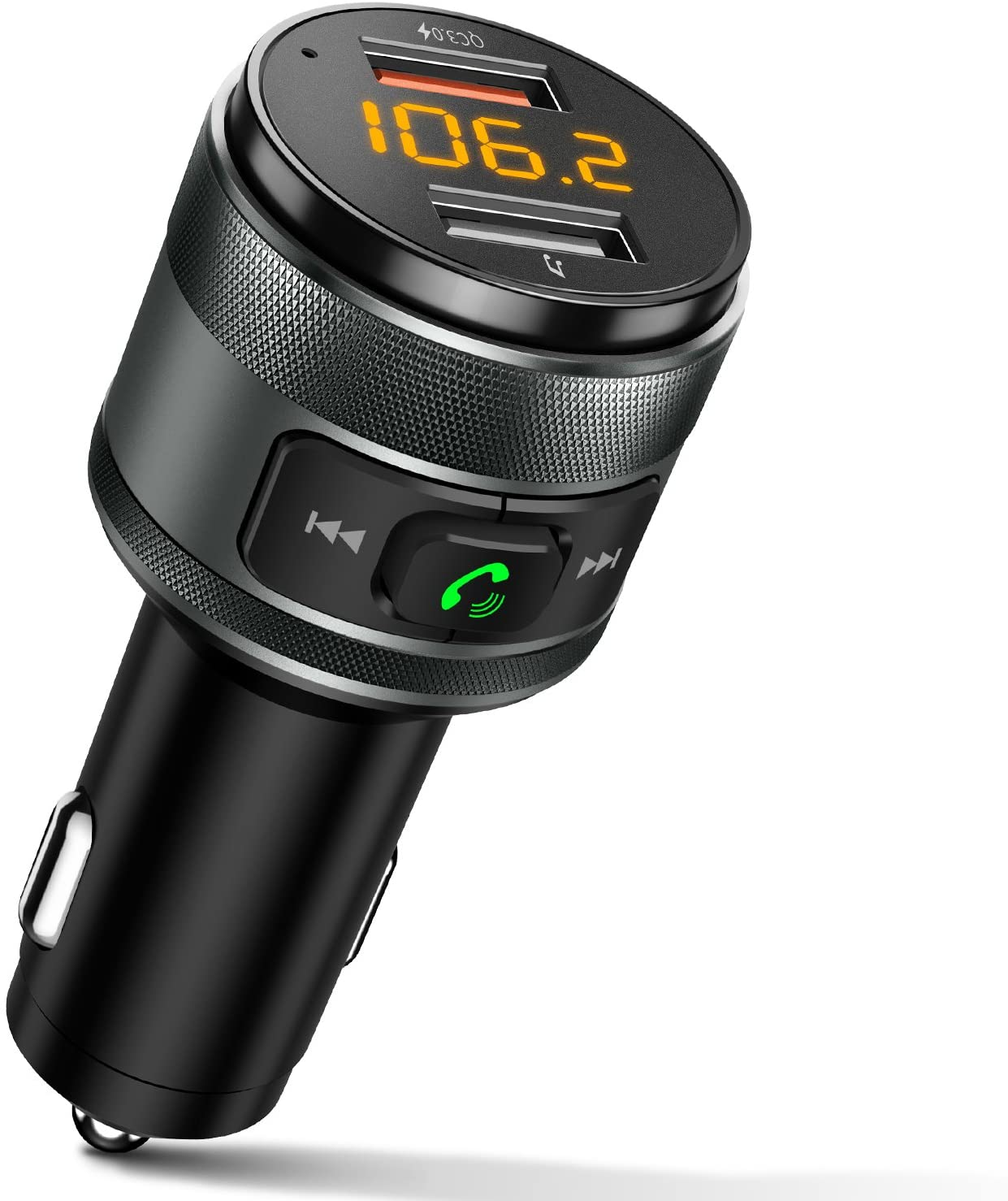 Bluetooth Car Kit MP3 Player Wireless Multifunction FM Transmitter for Car USB Fast Charger SD//LCD with Built-in Microphone Supports Hands-Free Calling Remote Control Included
