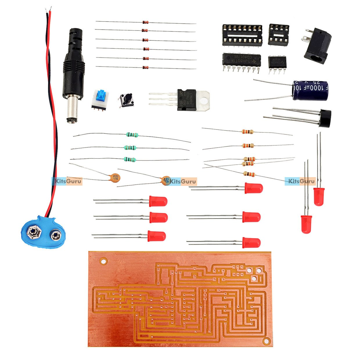 Diy Kit Electronic Dice Circuit Lgkt068 Simple Using Ic Cd4017 Projects