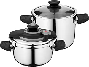 Berghoff Vita Stainless Steel Pressure Cooker with Lid Lock, 7.4qt, Suitable for All Stovetops