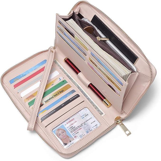 CLUCI Valentines Day Gifts Women Wallet Large Leather Zip Around Card Holder Ladies Clutch Wristlet