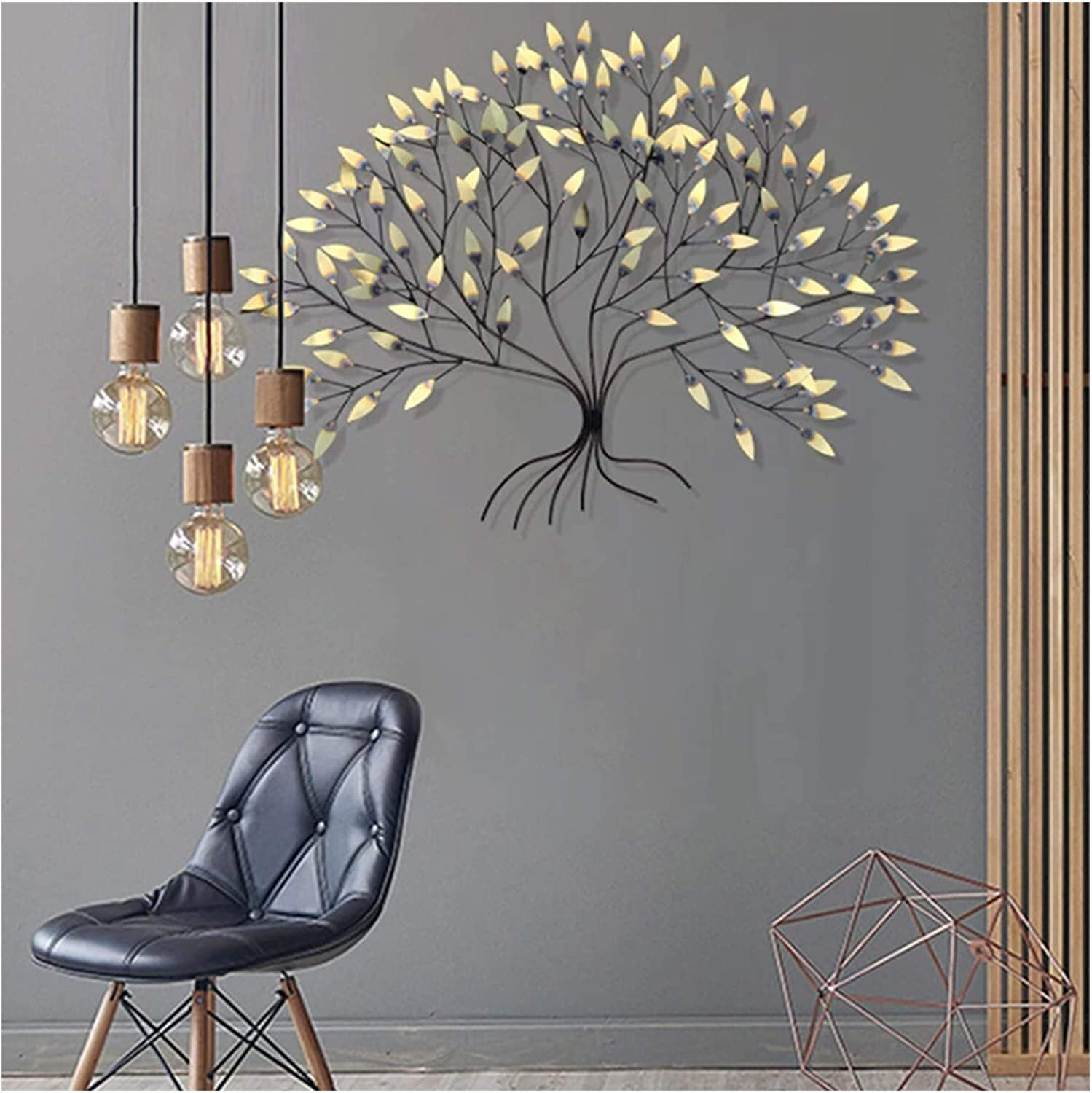 Large Metal Art Wall Decor For Living Room,Tree Of Life Wall Decoration,3D Wrought Iron Leaves Wall Sculpture,creative Contemporary Artwork Ornament Durable Smooth For Dining Room/Office/Study/Bedroom