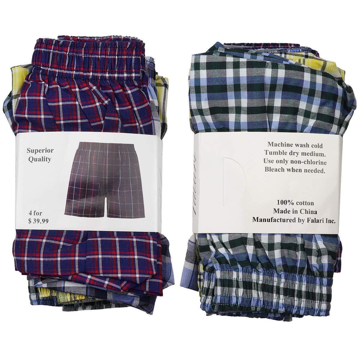 Falari 4-Pack Mens Boxer Underwear 100/% Cotton Premium Quality