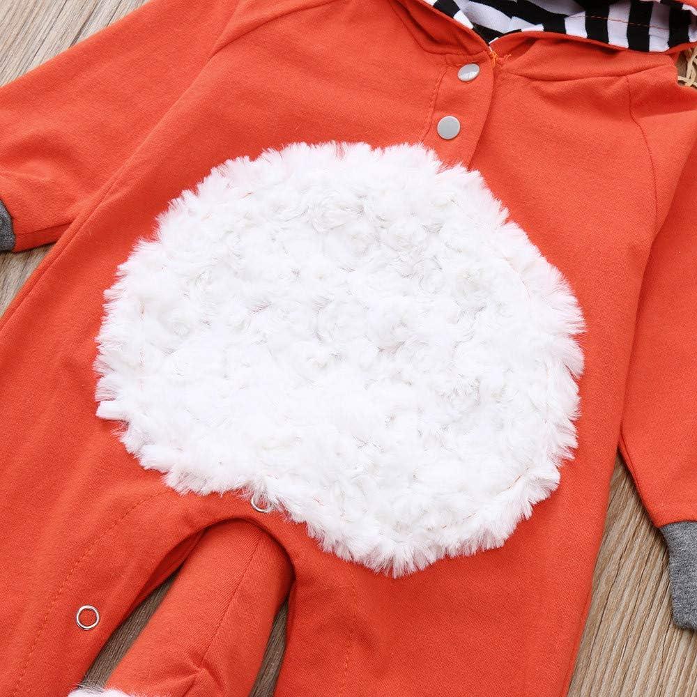 Dinlong Kids Baby Boy Girl Clothes 3D Cartoon Fox Hooded Romper Jumpsuit Outfits