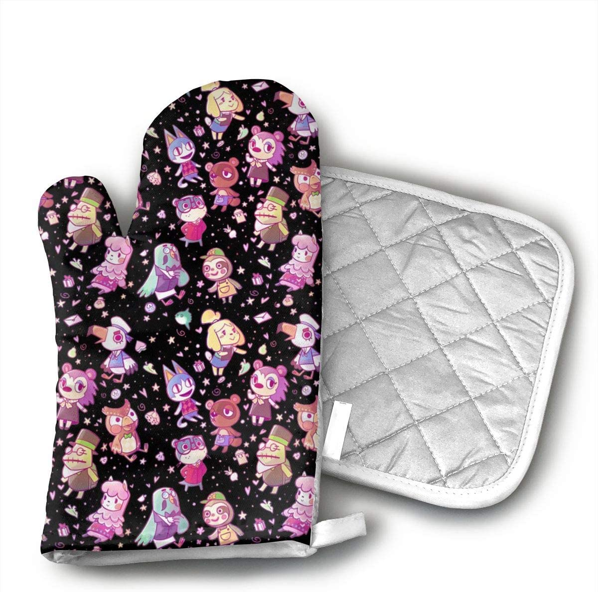 TMVFPYR Animal Crossing Oven Mitts, Non-Slip Silicone Oven Mitts, Extra Long Kitchen Mitts, Heat Resistant to 500fahrenheit Degrees Kitchen Oven Gloves