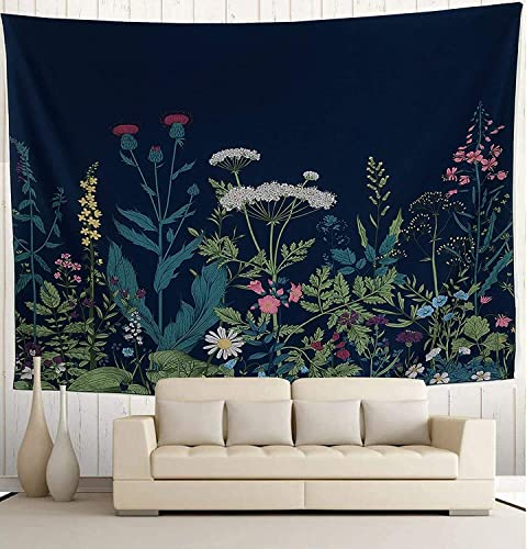 Wekymuu Floral Tapestry Plant Tapestry Wild Flower Tapestry Wall Hanging Vintage Herbs Wall Tapestry Nature Scenery Tapestry for Bedroom Dorm Room Dark Blue70.8 x 91