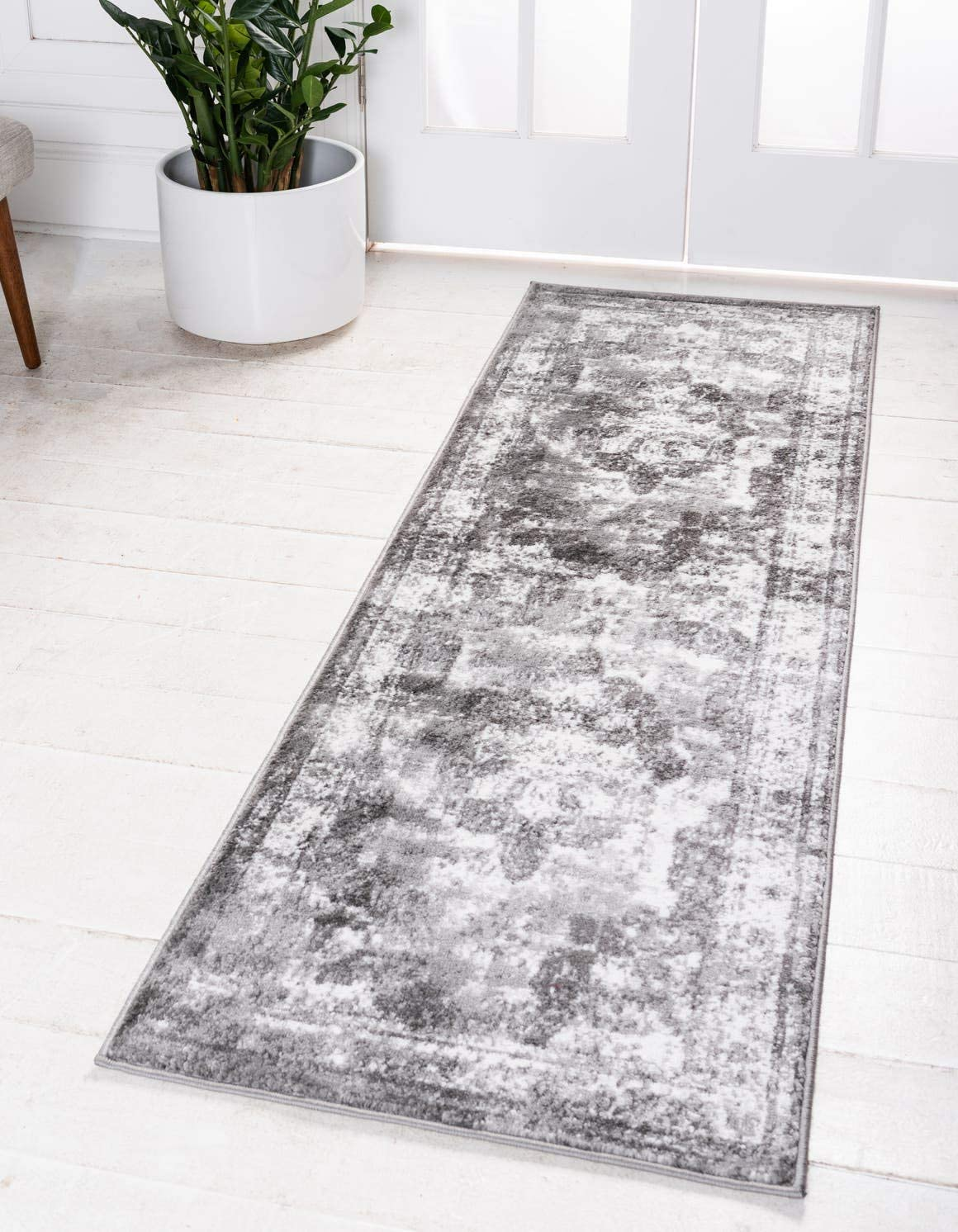 Unique Loom Sofia Collection Traditional Vintage Gray Runner Rug 2 0 x 9 10