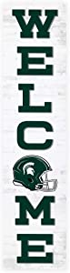 P. Graham Dunn Welcome Michigan State University NCAA 47 x 10.5 Birch Wood Vertical Porch Leaner Sign