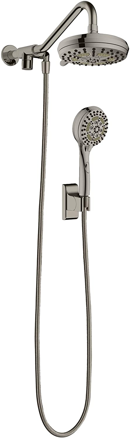PULSE ShowerSpas 1053-BN Oasis Shower System with 5-Function 7 Showerhead, 6-Function Hand Shower, Brushed Nickel Finish