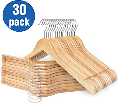 Wooden Clothing Hangers Natural Women's Adult Shirts Lot 55 Used