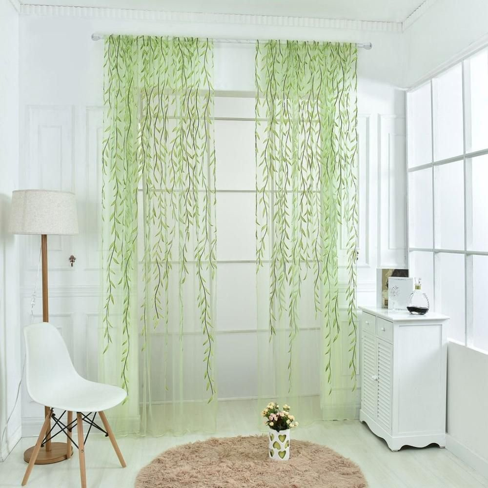 ICYANG Unilateral Willow Tulle Room Window Curtain Drape Panel Sheer Valances, 78.6 x 39.3 Inch, Green