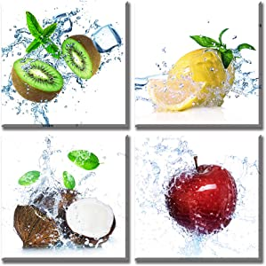 """Summer Fruit Wall Art Fresh Apple Kiwi Lemon Coconut Colorful Natural Artwork Cool Restaurant Pictures Modern Kitchen Decor 12""""x12""""x4 Painting Prints on Canvas Panels Stretched Framed Ready to Hang"""