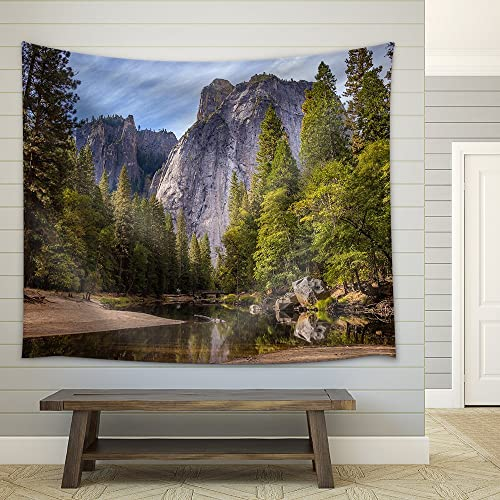 wall26 – Lake in The Mountains with Clear Water Surrounded by Green Forest – Fabric Wall Tapestry Home Decor – 51×60 inches