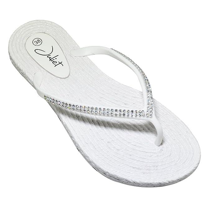 Damen Strass Badelatschen Zehentrenner Strandschuhe Slipper Schuhe GR. 36-41 (39, Fuchsia)