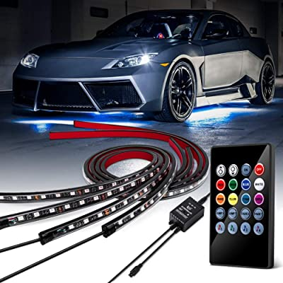 GOODRUN Underglow Underbody Lighting Kit, Multicolored LED Strip Light with Light Bulbs,Neon Accent Ambient Lights, Soft Flexible LED Rock Lights w/Sound Active Function and Wireless Remote Control: Automotive