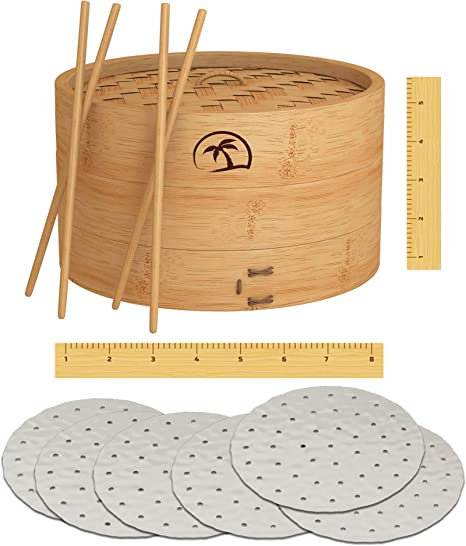 Amazon Com Dealzndealz 3 Piece Bamboo Steamer Basket With Lid 08 Inch 2 Tier 50 Perforated Bamboo Steamer Liners With 2 Pairs Of Bamboo Chopsticks Kitchen Dining