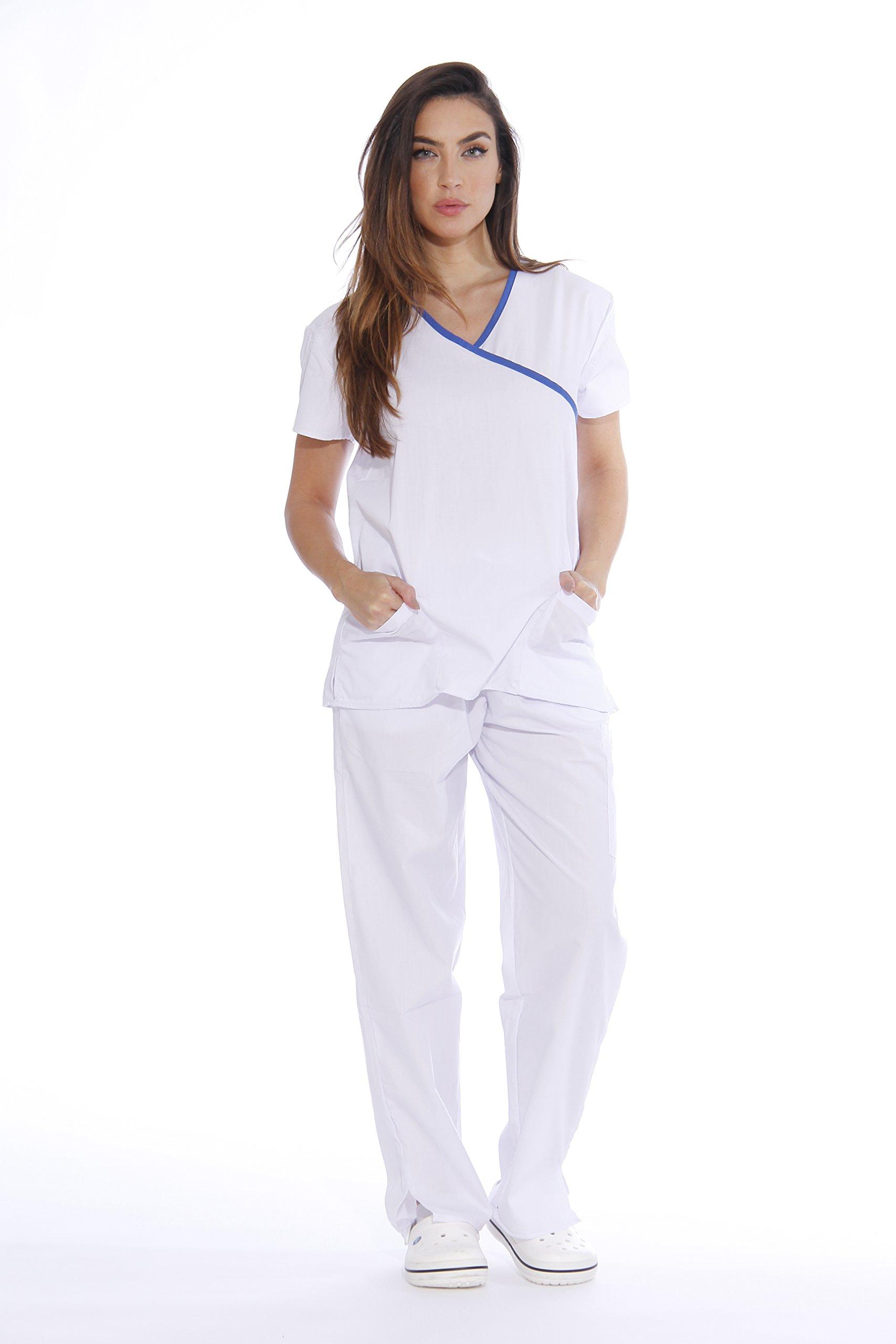 3b2ac4069f0 Galleon - 11145W Just Love Women's Scrub Sets / Medical Scrubs / Nursing  Scrubs - S, White With Royal Blue Trim,White With Royal Blue Trim,Small