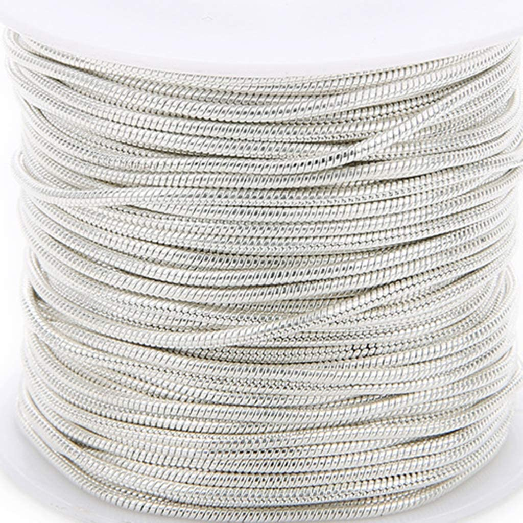 Gold 10 Yards//Roll 1.5mm Copper Plated Gold Silver Silverwhite Black Necklace Chains Snake Chains Bulk Link Chains for Necklace Bracelet DIY Jewelry Making