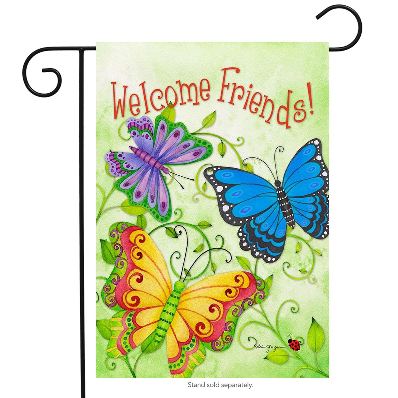 "Briarwood Lane Butterfly Welcome Spring Garden Flag Welcome Friends Butterflies 12.5""x 18"""
