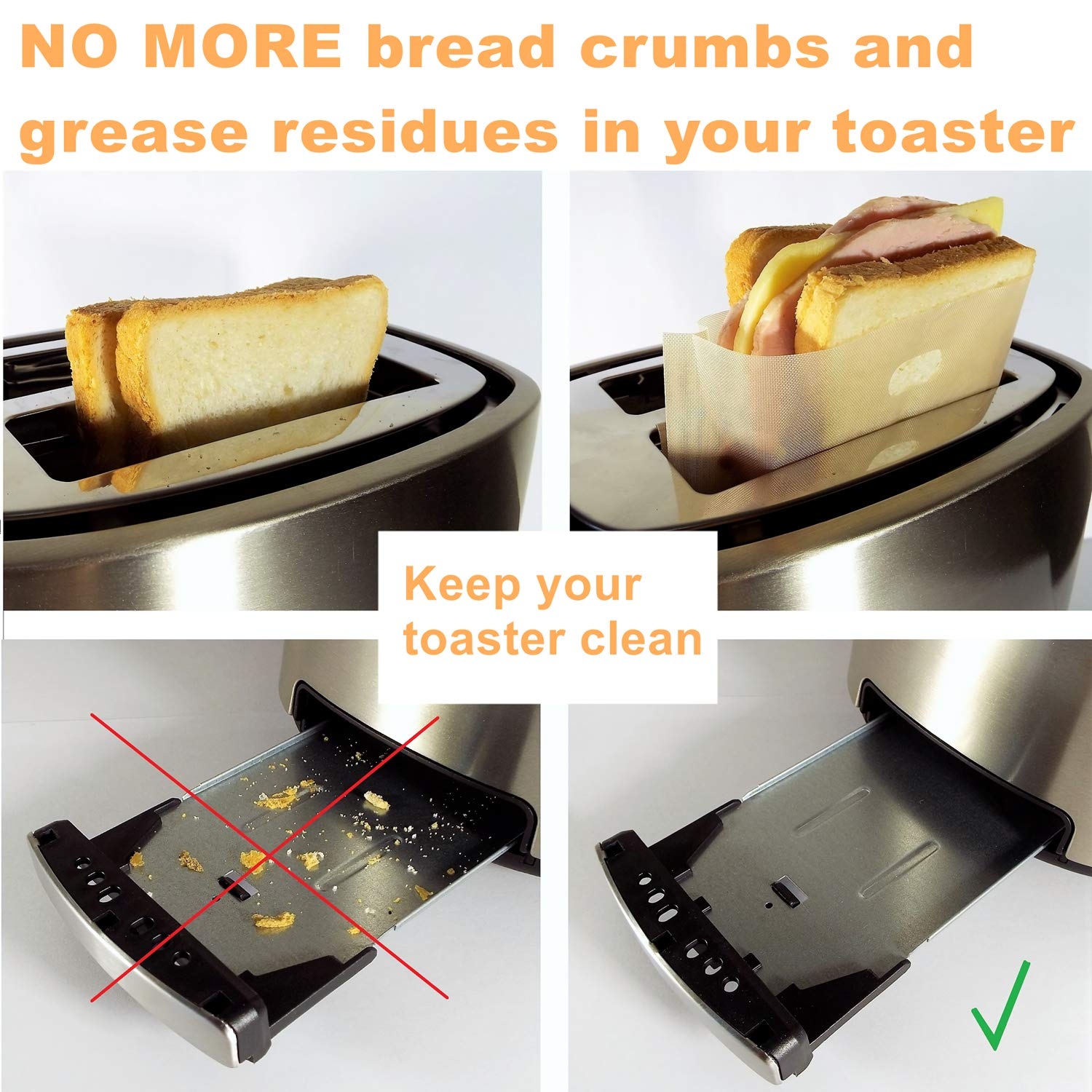 Non Stick Toaster Grilled Cheese Bags Reusable and Heat Resistant Easy to Clean, Gluten Free, FDA Approved, Perfect for Sandwiches, Chicken, Nuggets, Panini and Garlic Toasts - 10 Pcs by Famebird (Image #2)