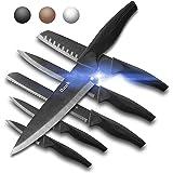 Wanbasion 6 Pieces Matte Black Titanium Plated Knife Set Stainless Steel Forged Kitchen Knife Set Sharp Professional Knife Se