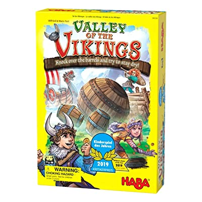 HABA Valley of The Vikings - Knock Down Barrels & Collect (or Steal) The Most Gold! - 2020 Kinderspiel des Jahres (Children's Game of The Year) Winner - Ages 6+ (Made in Germany): Toys & Games