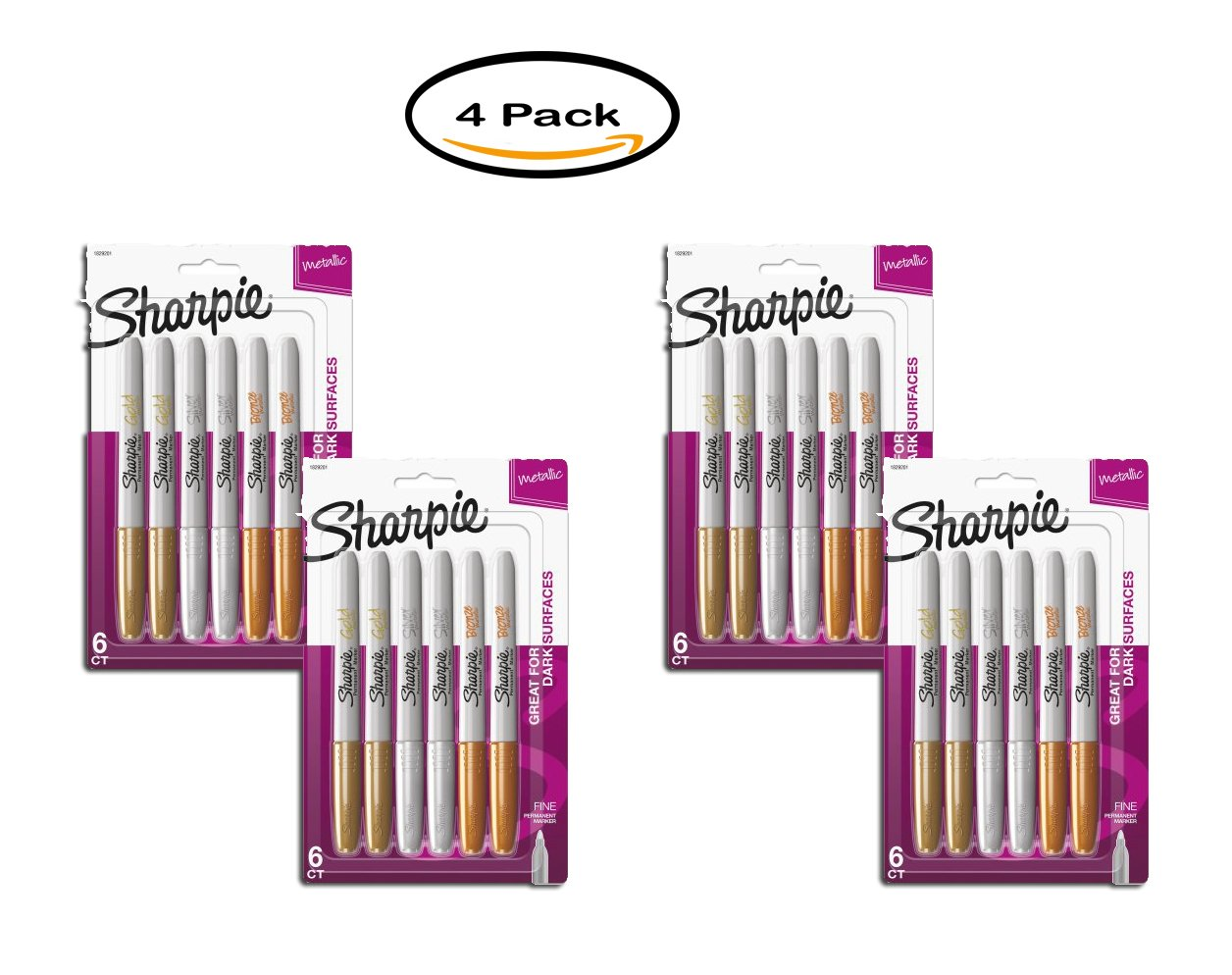 PACK OF 4 - Sharpie Metallic Permanent Markers, Assorted, 6/Pack