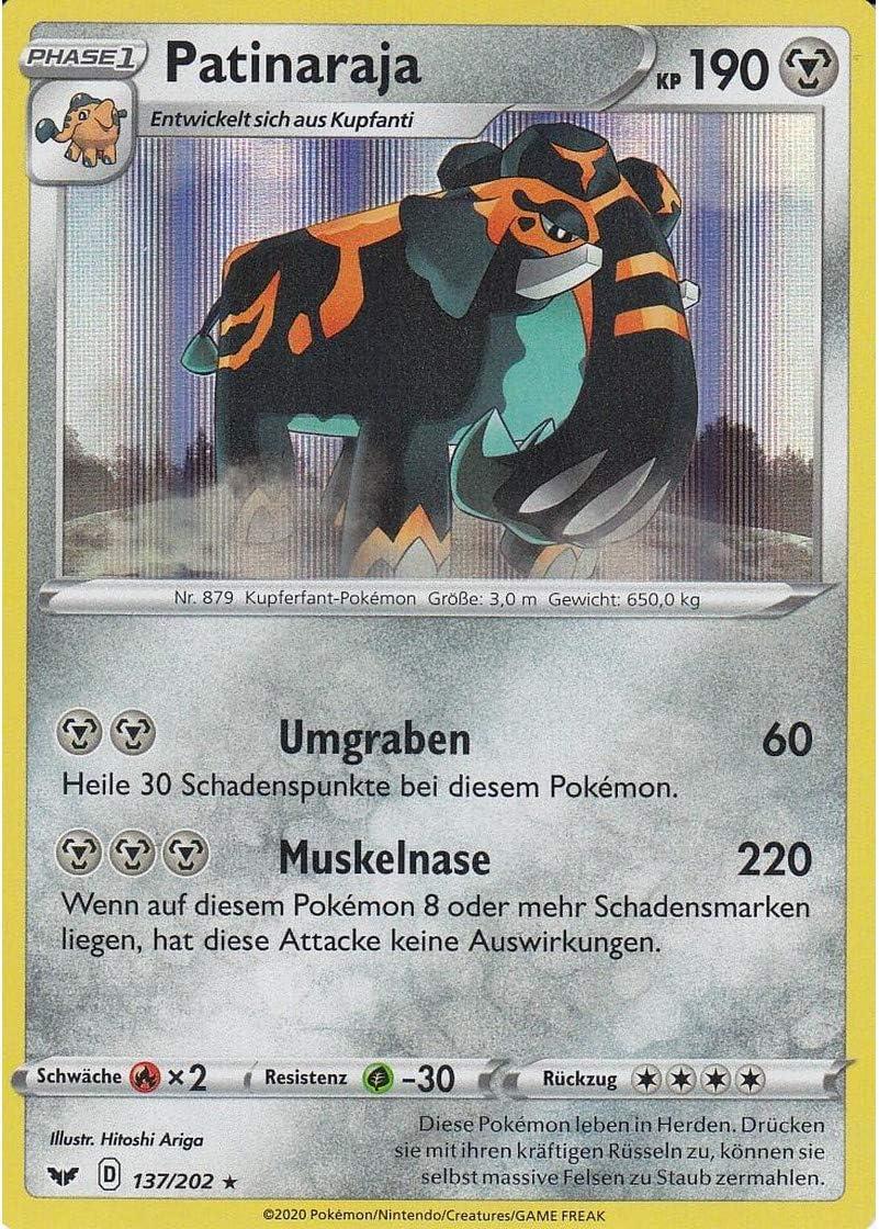 Pokemon Deutsch Patinaraja Schwert und Schild 137//202 mit GECO/® Versandschutz Rare Holo