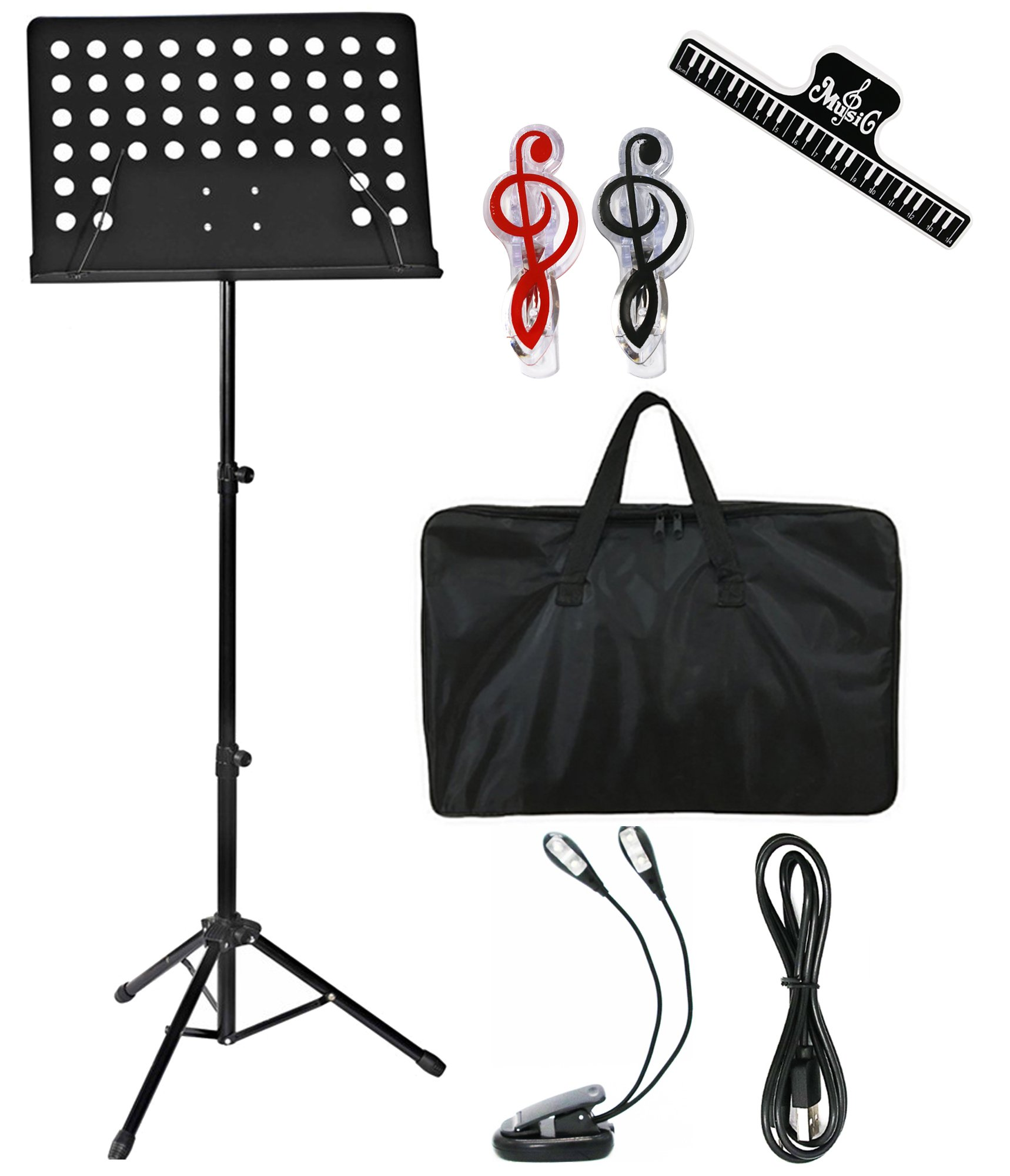 MELODIC Music Stand Professional Collapsible Orchestra Sheet Music Stand with Music Stand for Music Sheet, Instrument Books with LED light,Carrying Bag Perfect for Instrumental Performance.