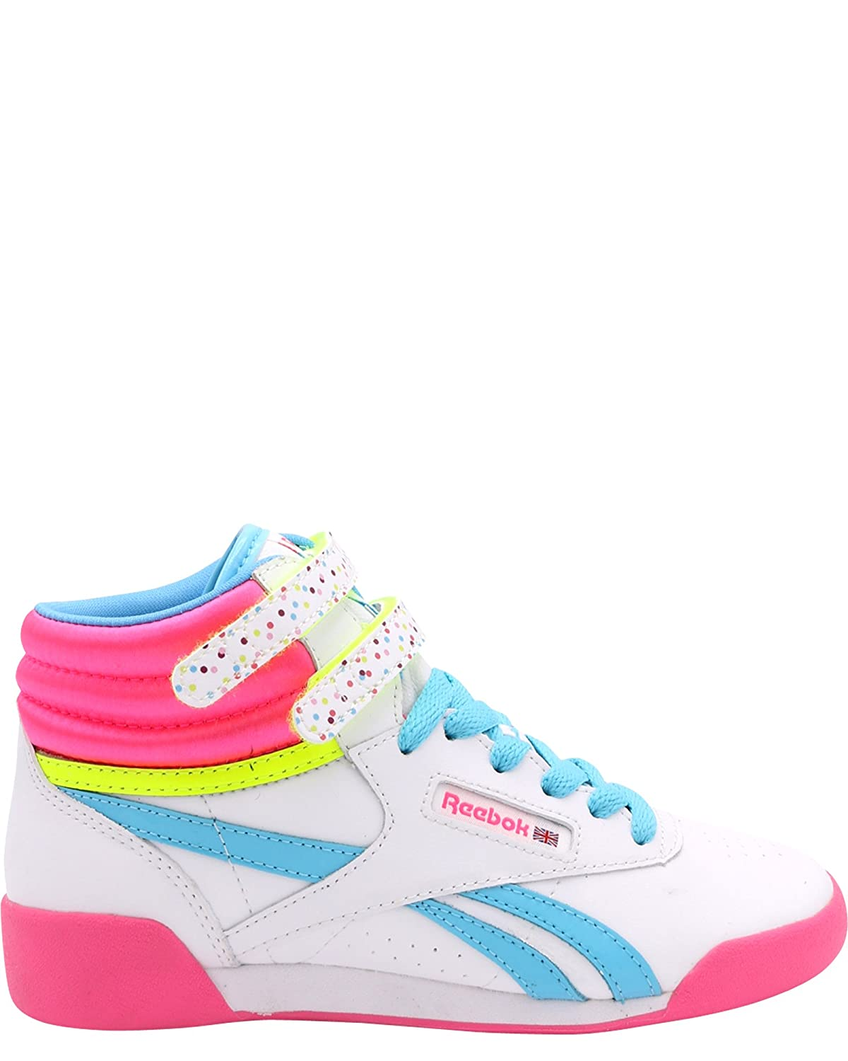 2c25176bf5f Amazon.com  Reebok Kids Girl s Freestyle Hi Birthday (Little Kid)  White Solar Pink Solar Yellow Neon Blue White Pink Aubergine 2.5 M US Little  Kid  Shoes