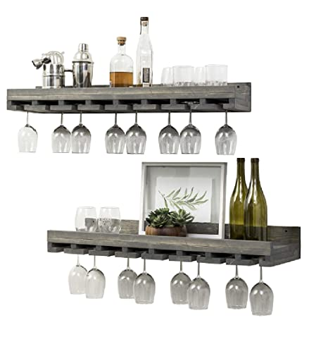 Rustic Wooden Wall Mounted Handmade Tiered Wine Glass Racks Grey 36 Inch