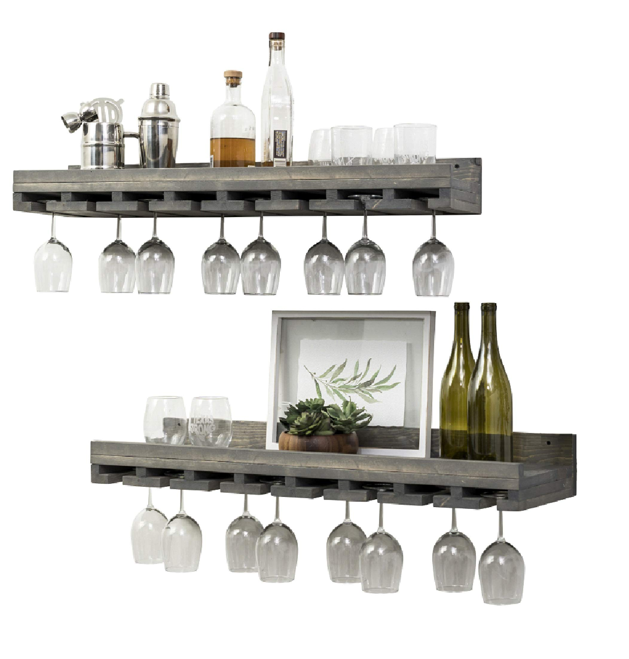 Rustic Wooden Wall Mounted Handmade Tiered Wine Glass Racks (Grey, 36 Inch)