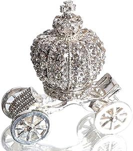 Waltz&F Silver Diamond Pumpkin Carriage Metal Ring Jewelry Holder Hinged Trinket Box Table Centerpiece Decor