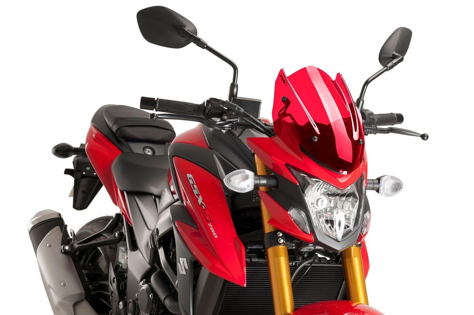 Puig Windshield 9435R Naked New Generation Sport Screen 2017 Suzuki GSX-S750 Red Windscreen