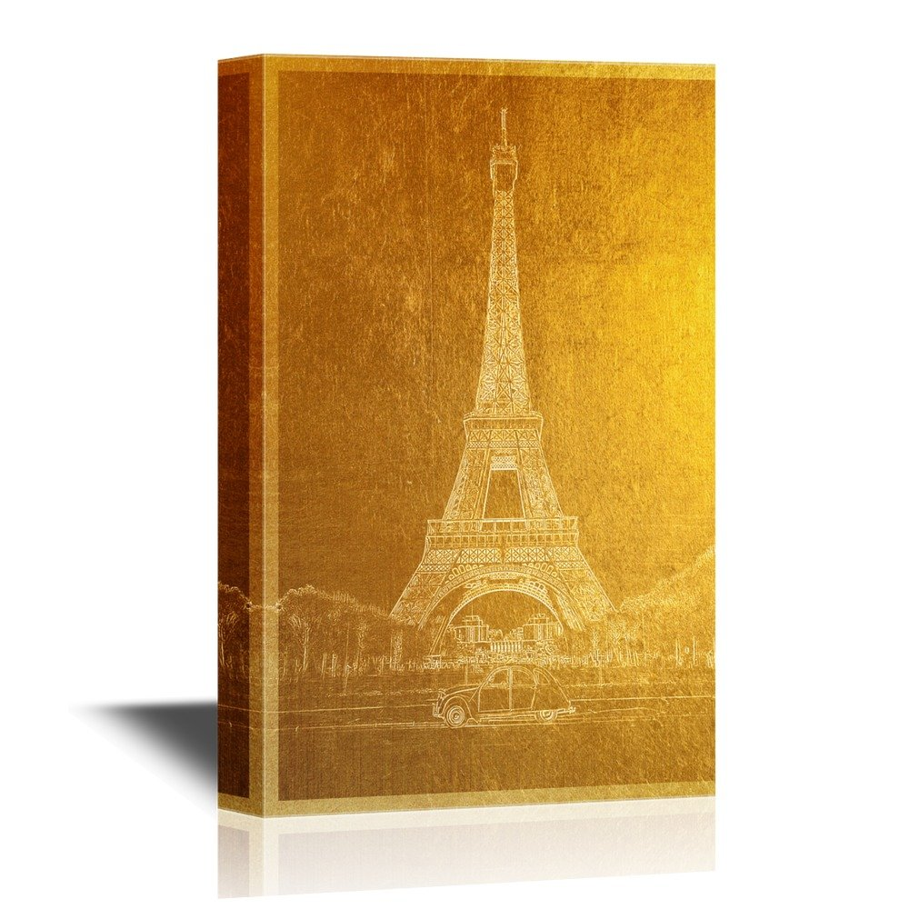 Golden Color Landmark Eiffel Tower in Paris - Canvas Art | Wall26