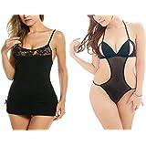 Billebon Combo of Women Nightwear Babydoll Dress with G-String Panty (L1 - Black-L9 - Black)