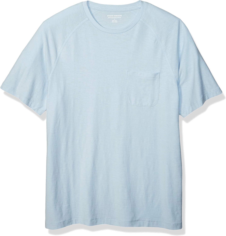 Essentials Camiseta de manga corta de hilo flameado cuello redondo y corte entallado para hombre manga ragl/án