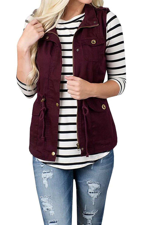 Women Casual Sleeveless Jacket Vest with Zipper CAHM0470