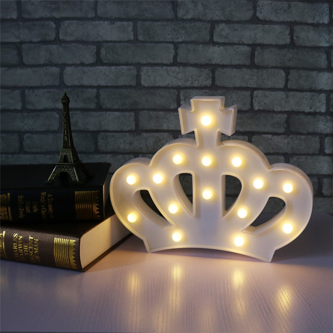 QiaoFei 3D Crown Marquee Sign Light,LED Queen Princess Kings Shaped Sign-Lighted,Wall Decor for Chistmas,Birthday party,Kids Room, Living Room, Wedding Party Decor(White) by QiaoFei (Image #3)
