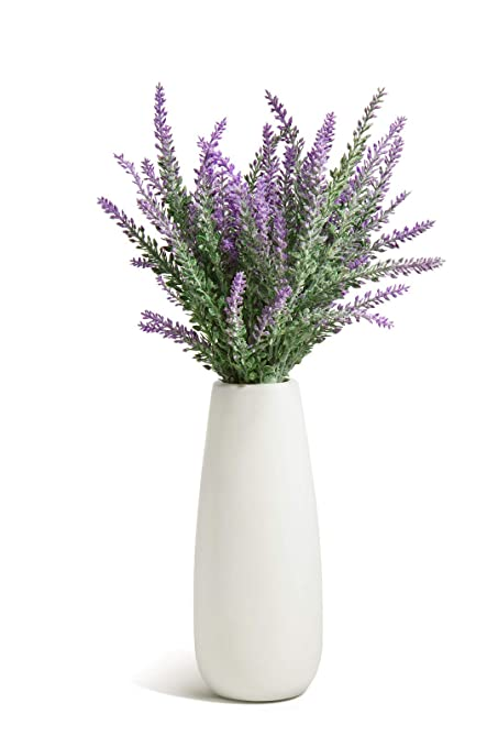 275 & Opps Artificial Lavender Flowers Bouquet with White Ceramic Vase for Home Party \u0026 Wedding Décor \u2013 Purple