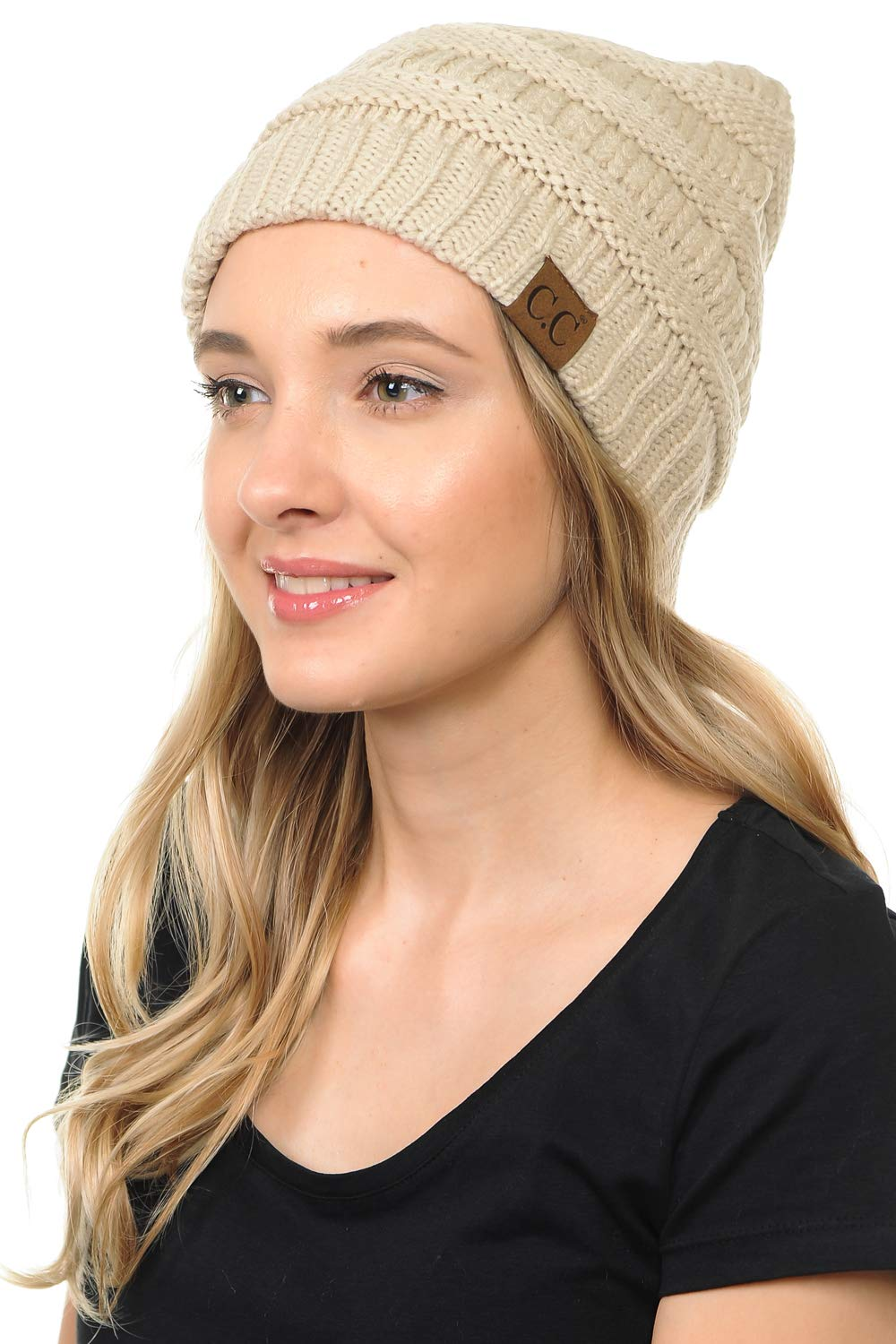 BYSUMMER C.C.Soft Cable Knit Warm Fuzzy Lined Slouchy Beanie Winter Hat
