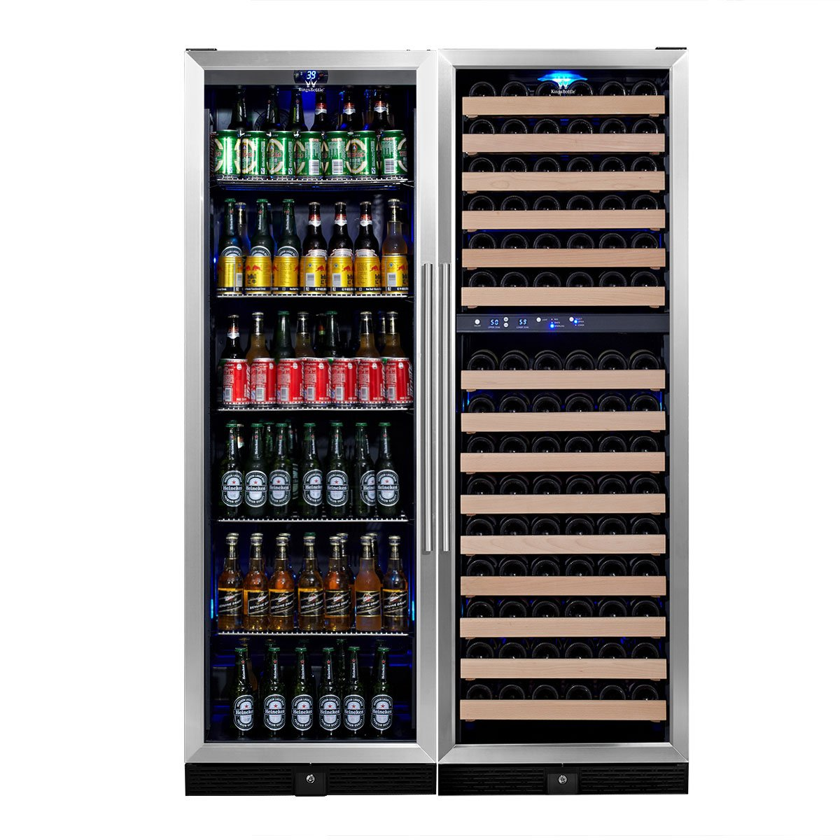 KingsBottle KBU-50Combo-BW2 Innovative Combo 2-Zone Dual Temperature Wine and Beer Cooler with Glass Door Vibration Free Holds 160 Cans 46 Bottles Exceptional Temperature Control