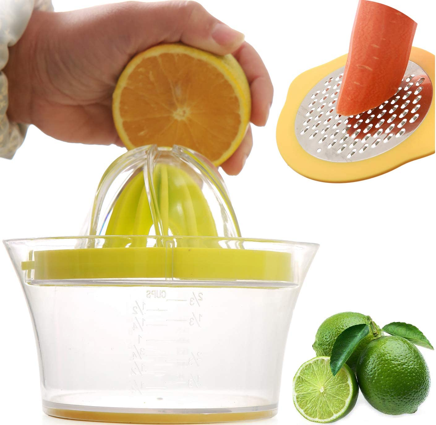 Manual Juicer Lemon Squeezer, 4-in-1 Multi-Function Lime Citrus Orange Squeezer, Hand Press Fruit Juicer with Non-Slip 12 ounce Measuring Cup, Manual Orange Juicer Citrus Press, Egg Yolk Separtor