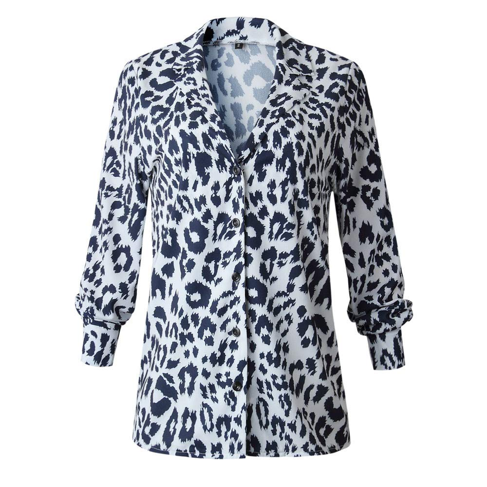Newkelly Women Casual Leopard Printing Button Long Sleeve Shirt Tops Blouse